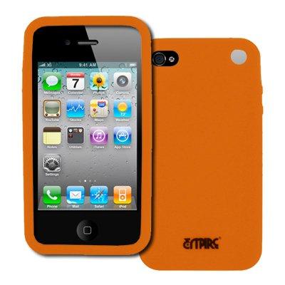 EMPIRE Apple iPhone 4S Schwarz Leather Leder Case Tasche Hülle Pouch with Gürtelclip and Gürtelschlaufen + Orange Silicone Skin Cover Case Tasche Hülle