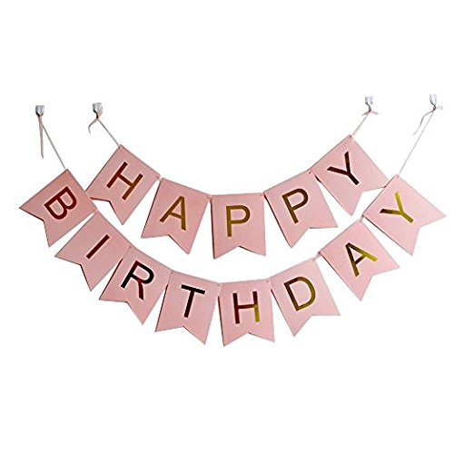 Happy Birthday Banner Gold and Pink or Gold and White Birthday Party Banners, Party Suppliesfor Adults and Kids (Gold and Pink)