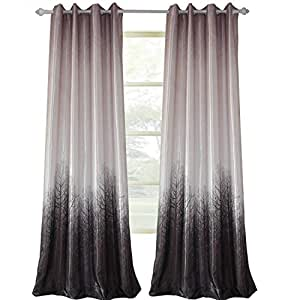 "Clacoco Tree Curtain for Living Room - Grey/Purple Grommet Top Window Curtain Panel 42"" W 96"" Long"