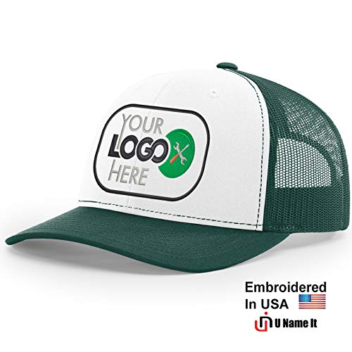 Custom Richardson 112 Hat with Your Logo Embroidered Trucker Mesh Snapback Cap (Adjustable Snapback White Front Colorway, White Front/Dark Green)