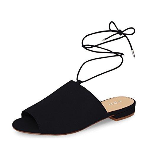 Ydn Lace Up Suède Platte Muilezels Lage Hak Peep Toe Sloffen Comfortabele Wandelschoenen Zwart