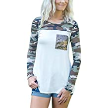 Womens Camouflage Shirts,Vanvler [Ladies Long Sleeve Tops] Sequin Pockets Blouse