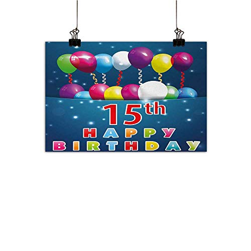 Anzhutwelve 15th Birthday Abstract Painting Festive Occasion Surprise Party Theme with Balloons and Curly Swirled Ribbons Natural Art Multicolor 24