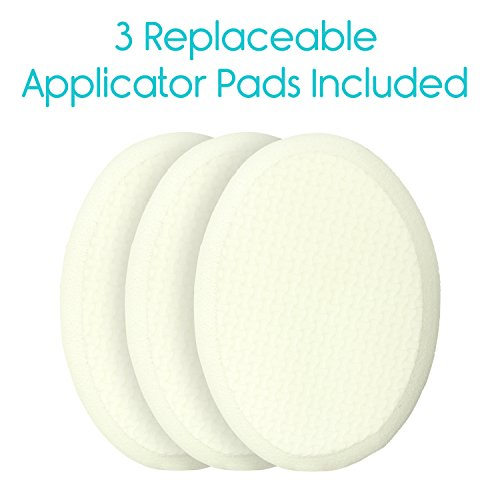 Back Lotion Applicator by Vive - Long Reach Handle With Pad for Easy Self Application of Shower Bath Body Wash Brush, Foot Sponge, Skin Cream, Suntan, Tanning, Aloe - Men, Women (3 Replacement Pads) by VIVE (Image #5)