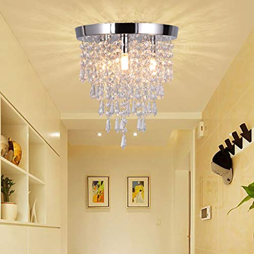 Sodoop Crystal Chandelier, Modern G9 Bulbs Chandeliers Crystal Light Fixture Lighting Flush Mount LED Ceiling Light for Hallway,Bath Room, Kitchen,Bedroom,Bathroom,3 Lights,H9.8 x W11.3 inch