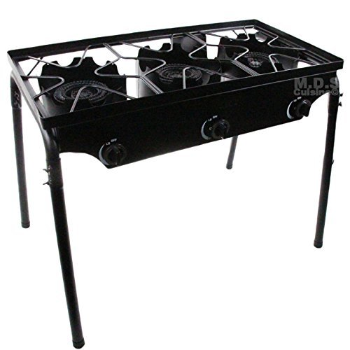 M.D.S Cuisine Cookwares Stove Triple Burner Heavy Duty Gas Propane Outdoor Camping BBQ Grill -