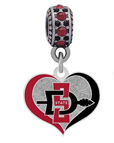 Final Touch Gifts San Diego State University Swirl Heart Charm Fits Most Bracelet Lines Including Pandora, Chamilia, Troll, Biagi, Zable, Kera, Personality, Reflections, Silverado and More ...