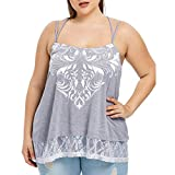 OTINICE Women Plus Size Sleeveless Shirts Spaghetti Strap Lace Blouse Casual Loose Tank Tops Gray