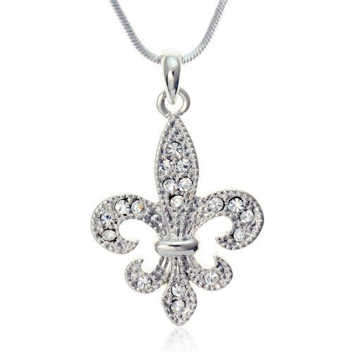 PammyJ Clear Crystal Fleur De Lis Charm Pendant Necklace, 18