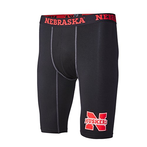 FANDEMICS NCAA University of Nebraska Men's Compression Short, Men's Medium (32-34)