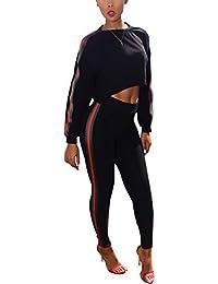 Women's 2 Piece Outfits Long Sleeve Crop Top+High Waist Skinny Pants Sweatsuits Set