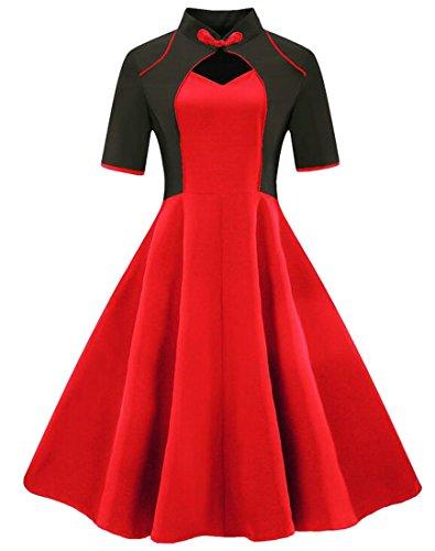 Jaycargogo Demi-manche Vintage Femmes Hepburn Balançoire Taille Haute Robe Plissée Rouge