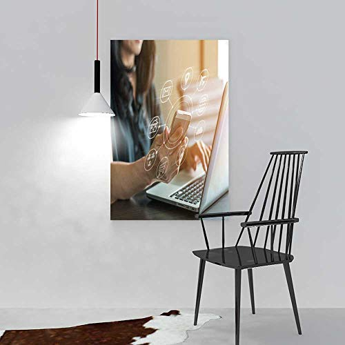 aolankaili Hanging Wall Decoration Painting Internet Things Digital Marketing via Multi Channel Communication on Living Room Office Hotel Frameless W36 x H48