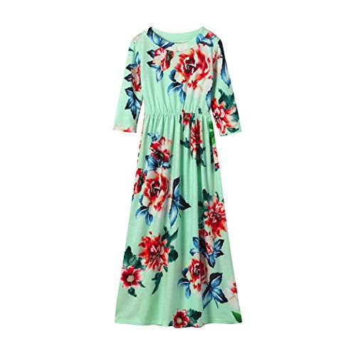 Fineser TM Little Girls Floral Print Long Sleeve Tank Dress Casual Long Dress Stretch Maxi Dress (Light Green, 5T)