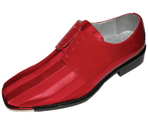 Bolano Mens Red Classic Oxford Striped Satin Dress Shoe with Silver Tip: Style 5205 Red-005