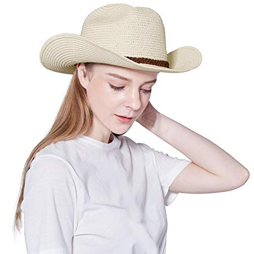 - Straw Cowboy Hat,Men's & Women's Sun Beach Hats Western Style with Adjustable Chin Strap (L(7 1/4-7 3/8), A1-Beige)