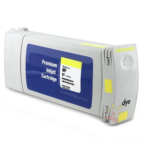 For HP 81 Ink Cartridge (C4933A) - Remanufactured, 680ml, Yellow (5500 81 Ink No Dye)