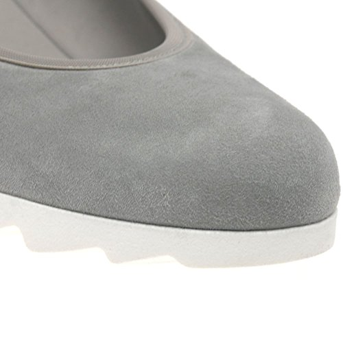 Gabor Damen Basic Ballet Flats Grey Suede/White