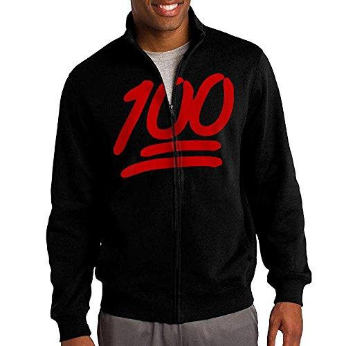 League Of Legends Brand Costume (Men's 100 Emoji Solid Stand Collar Zipper Jacket Size XXL)