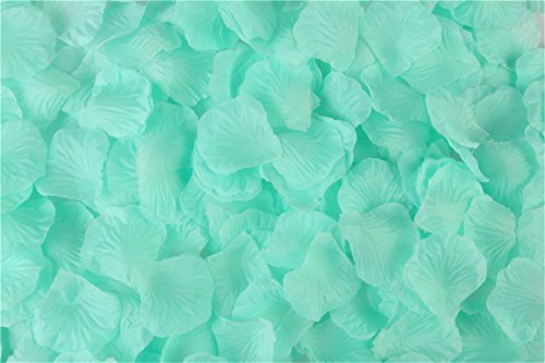 (HLLbuy 3000 PCS Teal Blue Artificial Flower Petals Silk Rose Flower Petals for Wedding Party and Home Decor)
