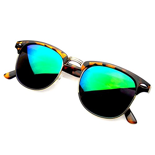 Classic Half Frame Horned Rim Gold Accent Half Frame Sunglasses (Tortoise Green, - Glasses Online Brand