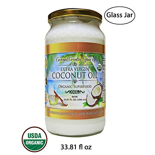 Organic Coconut Oil 33.81 Oz Extra Virgin Cold-Pressed for Hair, Skin, Beauty and Cooking (Tropical Traditions Coconut Oil)