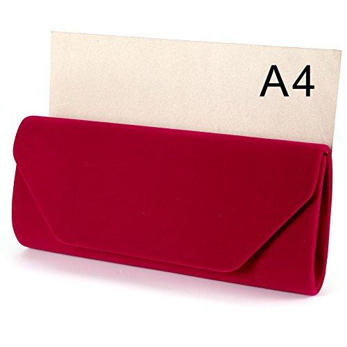 Anladia - Cartera de mano de Terciopelo para mujer - rojo