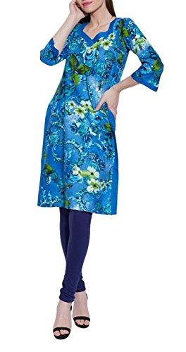 Long Sleeve V-neck Blue Print Cotton Dress – Unique Women's Fashions