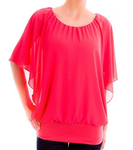 Danaest - Camisas - Túnica - Básico - Cuello redondo - manga 3/4 - para mujer Rojo