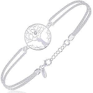Subalian Bracelet Argent Femme 925 – Bracelets Extensible de 17-20cm avec Le Symbole Arbre De Vie/Bijoux Fait en Italie…