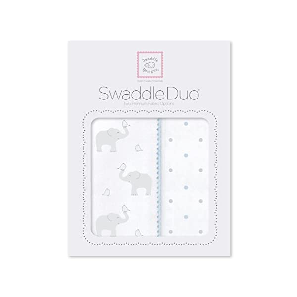 SwaddleDesigns SwaddleDuo, Set of 2 Swaddling Blankets, Cotton Marquisette + Premium Cotton Flannel, Elephant and Pastel Blue Chickies Duo