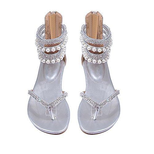 cae602f4075f9f Liyuandian Women Bling Rhinestone Flats Sandals Pearl Flip Flops Thong Shoes  chic