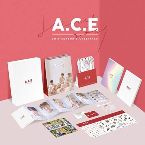A.C.E 2019 SEASON'S GREETINGS Calendar+Diary+Note+Photo+Sticker+Card+Mirror+etc+Tracking Number K-POP SEALED ()