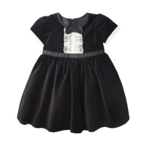 Harajuku Mini Little Girls Black Velvet Party Dress with White Tulle -