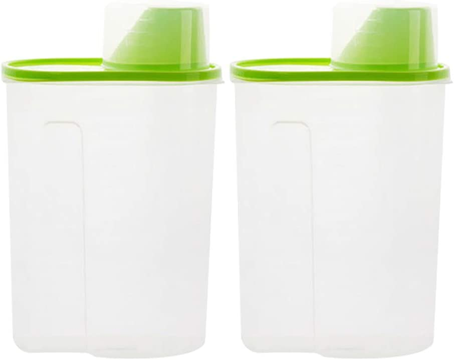 POPETPOP 2pcs Pet Dog Food Storage Container - Cat Food Dispenser with Pour Spout Measuring Swivel Cup, Dry Food Dispenser for Dogs Cats Birds - 2.5L