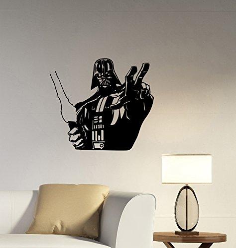 Darth Vader Helmet Star (Darth Vader Wall Decal Vinyl Sticker Star Wars Art Movie Decorations for Home Bedroom Kids Boys Living Room Decor sws6)