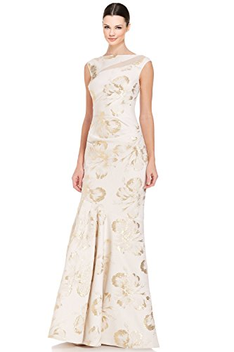 Teri Jon Beaded Shoulder Sleeveless Mermaid Evening Gown Dress