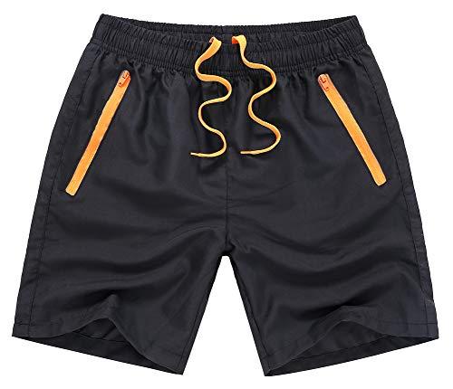 MADHERO Men Swim Trunks with Zipper Pockets Quick Dry Bathing Suits Mesh Lining,Black & Orange,Size L