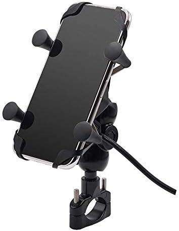 HePing Wu Motorrad Handy Halterung Wasserhahn festen Gurt Schalter USB Lade wasserdicht stoßfest Auto Multifunktionszubehör (Color : Black)