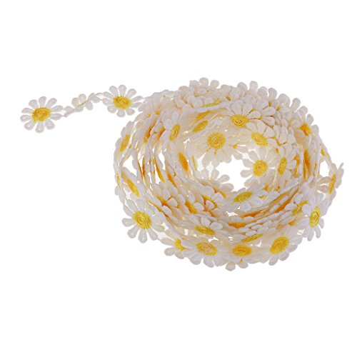 Crochet Ribbon Floral Applique - SM SunniMix 3 Yards Daisy Sun Flower Pattern Guipure Lace DIY Ribbon Embroidered Floral Art Crafts Tape for Decoration Motifs Sew On Flower Appliques - 0.98inch