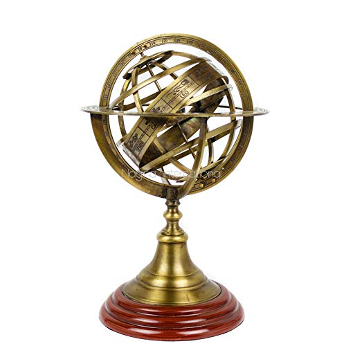Nagina International Antique Vintage Zodiac Armillary Brass Sphere Globe Wooden Display Pirate s Antique Ship Decor Large, Antique Brass