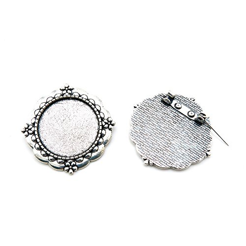 10 Pieces Antique Silver Tone Jewelry Making Charms Findings Fashion Wholesale Supplies Pendant Lots Bulk Supply N4UB3Y Round Cabochon Base Brooch Antique Silver Tone Brooch