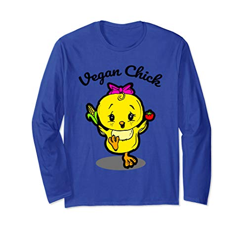 (Vegan Lover Gift with Chick holding Corn Cob and Tomato Long Sleeve T-Shirt)