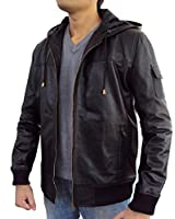 The Leather Factory Men's Lambskin Leather Fixed Hoodie Jacket with Knitted Ribs