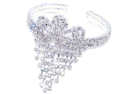 Silver Rhinestone Crystal Cuff Fringe Dangle Bracelet (Crown Fringe) (Dangle Cuff Bracelet)