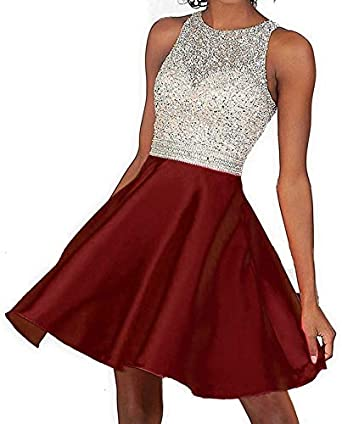 LindaBride Womens Sparkly Prom Dresses Open Back Short Homecoming Dresses Cocktail Party Dresses Beadings