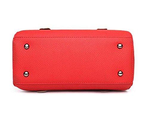 Oficina Hombro De Mujer Handle Satchel Red Mensajero Top Pu Portátil Damas Cuero Bolso Retro Para Totes C7B55x