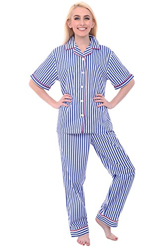 Alexander Del Rossa Womens Woven Cotton Pajama Set with Pants, Button Down Pjs, 3XL Blue and White Striped (A0518V103X)