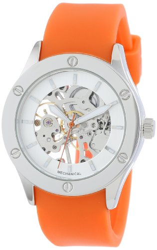 "Breda Women's 1450_Orange ""Addison"" Mechanical See-Through Rubber Strap Watch"