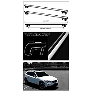 """Topline Autopart Universal 50"""" Oval Style Aluminum Roof Rack Rail Cross Bars with Adjustable Clamps (Silver)"""